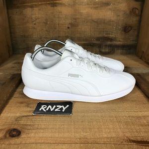 NEW Puma Turin II Triple White Leather Sneakers